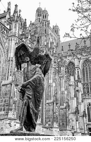 Statue in front of St. John's Cathedral at 's-Hertogenbosch - Netherlands