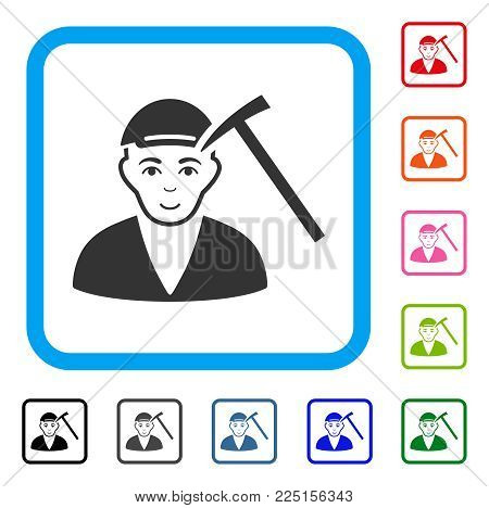 Glad Hammer Victim vector pictograph. Person face has enjoy mood. Black, grey, green, blue, red, pink color variants of hammer victim symbol inside a rounded squared frame. A boy dressed with a cap.