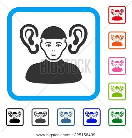 Joyful Listener Guy vector pictograph. Human face has enjoy emotions. Black, gray, green, blue, red, pink color variants of listener guy symbol inside a rounded frame.