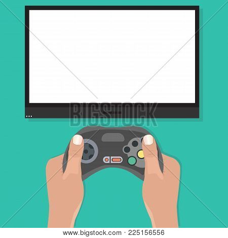 Gamepad in hands in front of blank tv screen. Playing video game concept in flat design. Blank tv screen mockup. Vector illustration poster