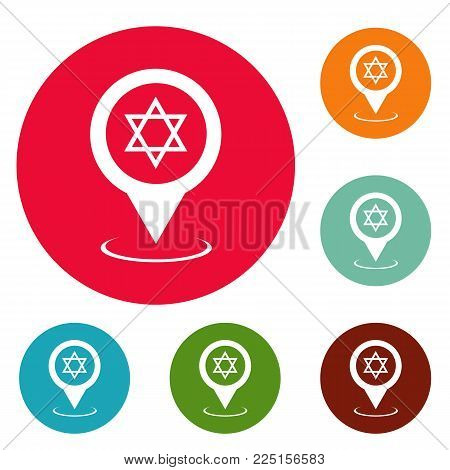 Synagogue map pointer icons circle set vector isolated on white background