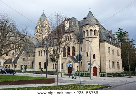 Old houses of Koblenz, a city situated on both banks of the Rhine at its confluence with the Moselle, Germany