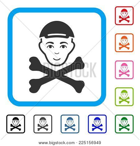 Happy Mortal Boy Head vector icon. Human face has enjoy feeling. Black, gray, green, blue, red, pink color versions of mortal boy head symbol in a rounded rectangular frame. A guy with a cap.