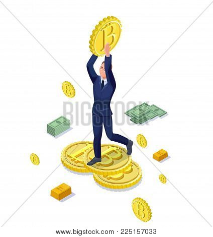 Isometric businessman with bitcoin symbol, cryptocurrency coins, money banknotes, successful financial wealth concept, 3d vector illustration