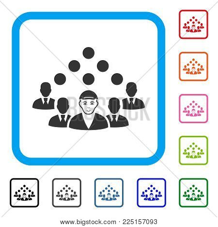Glad Staff Manager vector pictograph. Person face has cheerful feeling. Black, grey, green, blue, red, pink color variants of staff manager symbol inside a rounded square. A male person with a cap.