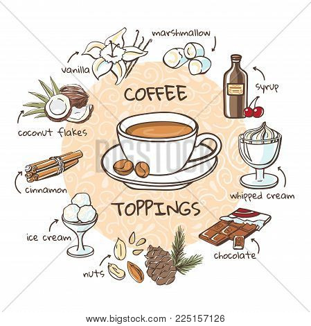 Coffee Toppings. Vector Illustration With Soft Drink And Additives. Hand Drawn Cup With Hot Beverage