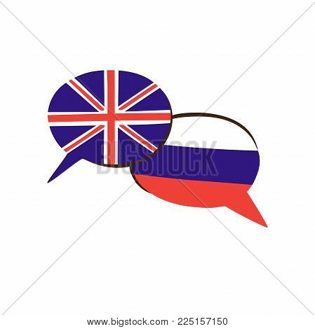 Vector Illustration With Two Hand Drawn Doodle Speech Bubbles With National Flags Of Russia And The