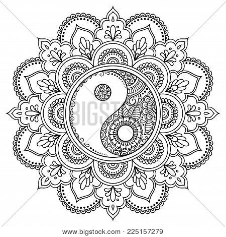 Circular Pattern In The Form Of A Mandala.  Yin-yang Decorative Symbol. Mehndi Style. Decorative Pat