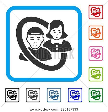 Joy Ringed People Pair vector pictograph. Human face has happiness feeling. Black, grey, green, blue, red, orange color versions of ringed people pair symbol in a rounded rectangle.