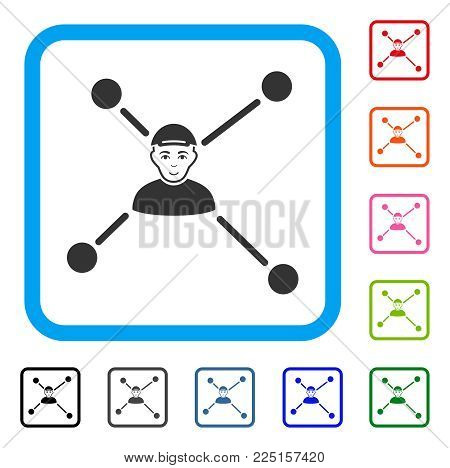Joy Person Links vector pictogram. Person face has cheerful sentiment. Black, grey, green, blue, red, orange color versions of person links symbol inside a rounded squared frame.