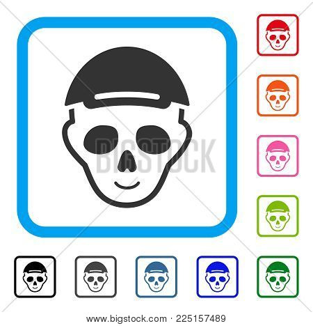 Smiling Skeleton Head vector icon. Human face has enjoy mood. Black, gray, green, blue, red, orange color variants of skeleton head symbol in a rounded squared frame. A person wearing a cap.