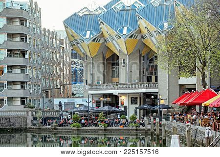 ROTTERDAM, NETHERLANDS - APRIL 1: The cube houses in Rotterdam on April 1, 2014 in Rotterdam