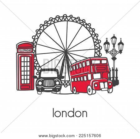 Modern Vector Illustration London With Hand Drawn Doodle English Symbols: Double Decker Bus, Telepho