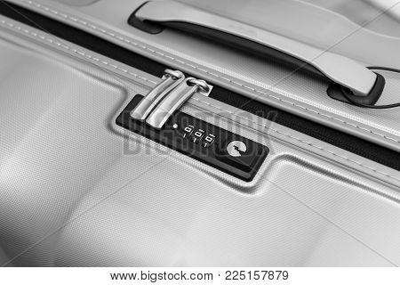 Closeup Detail Of A Suitcase Briefcase With Focus On  Combination Lock Password Number