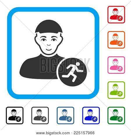 Happiness Running Man vector pictograph. Person face has cheerful sentiment. Black, grey, green, blue, red, pink color variants of running man symbol in a rounded rectangle. A person with a cap.