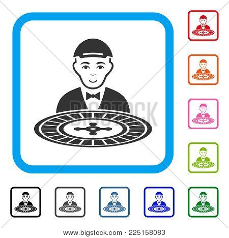 Enjoy Roulette Dealer vector pictogram. Human face has joy emotion. Black, gray, green, blue, red, pink color variants of roulette dealer symbol in a rounded frame. A guy with a cap.