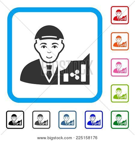 Joyful Ripple Trader vector icon. Human face has happiness mood. Black, gray, green, blue, red, pink color variants of ripple trader symbol inside a rounded rectangular frame. A dude wearing a cap.