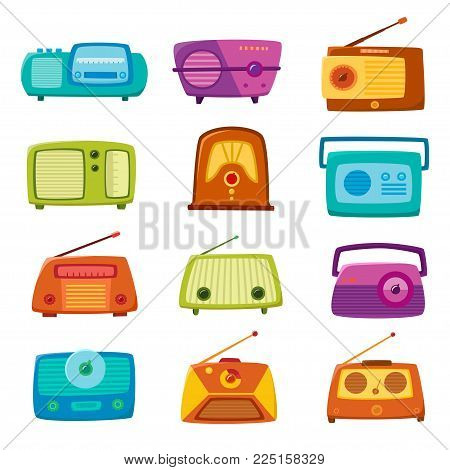 Vintage radio isolated on white background. Vector illustration of retro cartoon radio. Old radio vintage set used for vector icons or design elements.