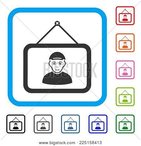 Glad Guy Portrait vector pictogram. Human face has joy feeling. Black, gray, green, blue, red, pink color versions of guy portrait symbol in a rounded square. A boy with a cap.