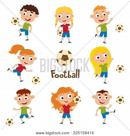 Vector illustration of little girls and boys in shirt and short playing football. Set of cute cartoon kids kicking soccer ball isolated on white background. Pretty football players. Collection of happy children.