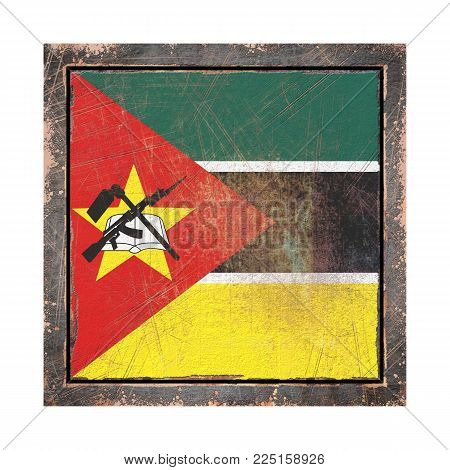 3d Rendering Of A Republic Of Mozambique Flag Over A Rusty Metallic Plate Wit A Rusty Frame. Isolate