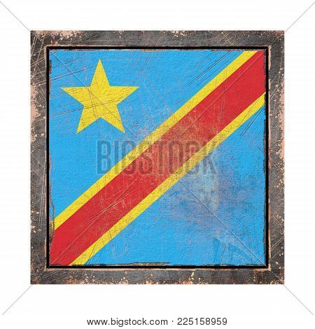 3d Rendering Of A Democratic Republic Of Congo Flag Over A Rusty Metallic Plate Wit A Rusty Frame. I