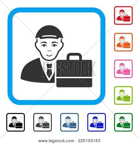 Gladness Accounter vector pictogram. Person face has glad emotions. Black, gray, green, blue, red, orange color variants of accounter symbol in a rounded squared frame. A man with a cap.