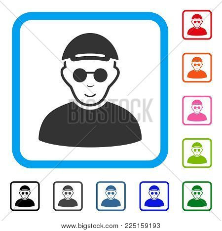 Enjoy Blind Man vector pictogram. Human face has positive emotions. Black, grey, green, blue, red, orange color additional versions of blind man symbol inside a rounded square. A guy wearing a cap.