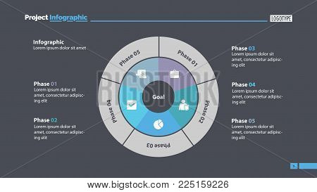 Five sectors process chart slide template. Business data. Goal, circle, design. Creative concept for infographic, presentation, report. Can be used for topics like marketing, planning, analytics.