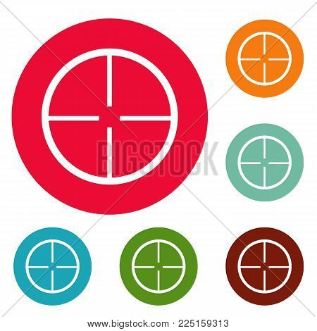 Aim icons circle set vector isolated on white background