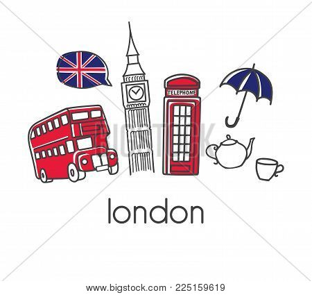 Modern Vector Illustration London With Hand Drawn Doodle English Symbols: Big Ben, Double Decker Bus
