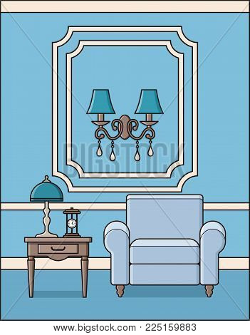Room with armchair. Vector. Living room interior in classic style. Parlor in flat design. Outline background in blue. Home furniture in line art. Cartoon house in pastel colors. Linear illustration.