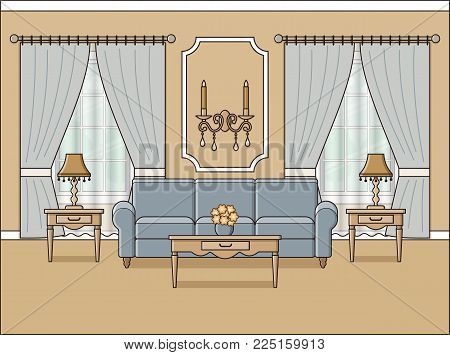 Room interior. Vector. Living room with windows in flat design. Linear background. Home space with furniture in line art. Cartoon house in pastel colors. Outline illustration. Salon in classic style.