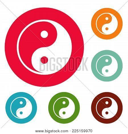 Ying yang symbol of harmony and balance icons circle set vector isolated on white background
