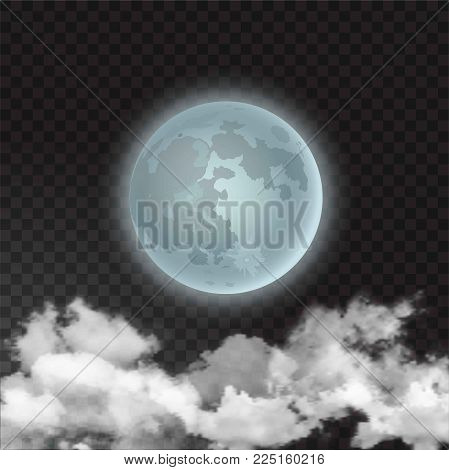 Moon skyscape with realistic night moon and few clouds floats isolated on transparent background. Vector illustration