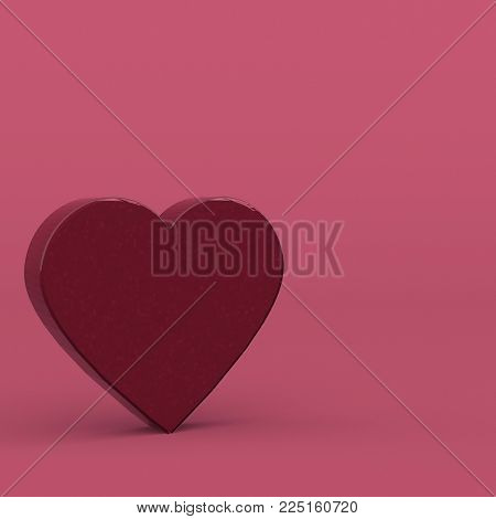 large volume heart is on the surface. Minimal abstract art. Surreal love creative concept. 3d rendering