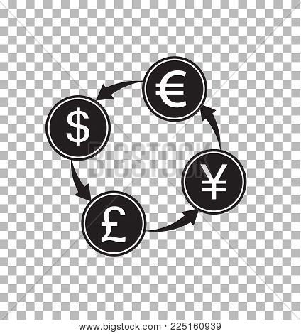 money exchange transparent. money convert sign. flat style. money symbol.