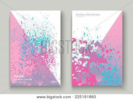 Pastel Pink Cyan Explosion Paint Splatter Artistic Cover Design. Fluid Gradient Dust Splash Texture