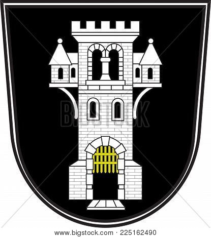 Coat of arms of Menden is a town in the district Maerkischer Kreis, in North Rhine-Westphalia, Germany. Vector illustration