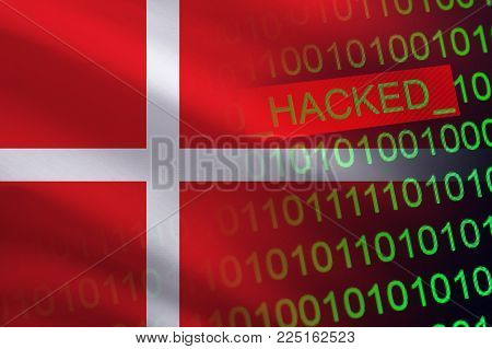 Denmark hacked state security. Cyberattack on the financial and banking structure. Theft of secret information. On a background of a flag the binary code.