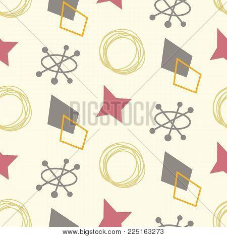 Mid century modern seamless pattern. 1950s vintage style atomic background, retro vector illustration.
