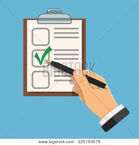 Auditing, Accounting Concept. Auditor Holds Pen in Hand and fills Checklist. Flat Style Icons Project Management, Analysis, Data. Isolated Vector Illustration