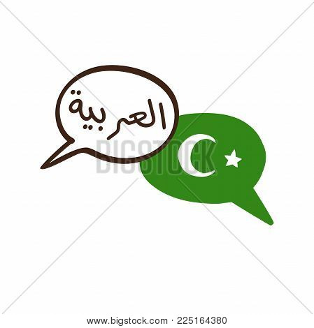 Vector Illustration With Two Hand Drawn Doodle Speech Bubbles With A Green Flag With Islam Symbol An