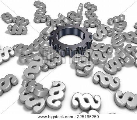 cogwheel and paragraph symbols on white background - 3d illustration