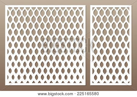 Template for cutting. Classic, geometric pattern. Laser cut. Set ratio 1:1, 1:2. Vector illustration.