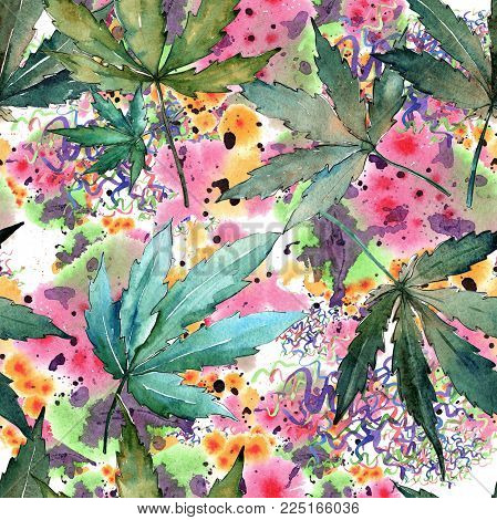 Cannabis leaves pattern in a watercolor style. Aquarelle wild leaf for background, texture, wrapper pattern, frame or border.