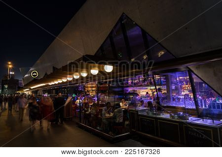Melbourne, Australia - January 16, 2018: Sake Restaurant and Bar Hamer Hall is a Japanese sushi restaurant in the Southbank district of the inner city.