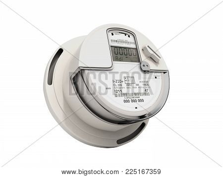 Modern digital electric meter 3d render on white no shadow