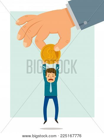 Big hand taking a coin from a small man.