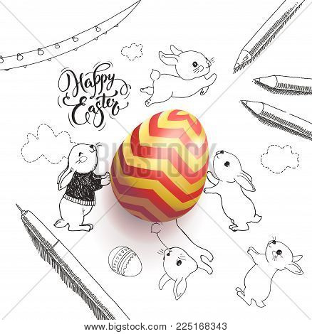 Bright colored egg surrounded by Happy Easter holiday wish handwritten with calligraphic font, funny little rabbits, clouds, pen, pencils, garland hand drawn with contour lines. Vector illustration